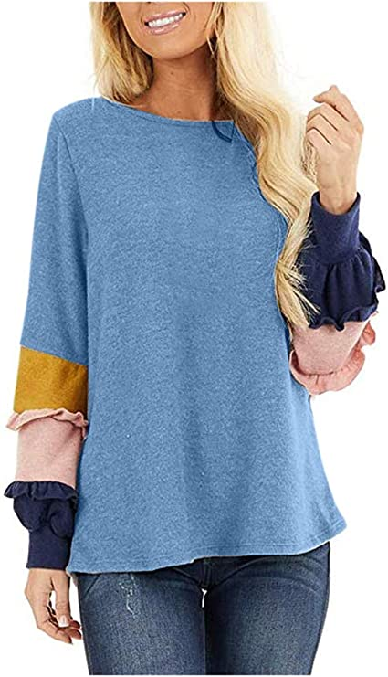Lataw Ladies Blouses Fashion Sweatshirt Winter Round Color Patchwork Oversize Casual Leisure Soft Wild Tops Costume T-Shirt