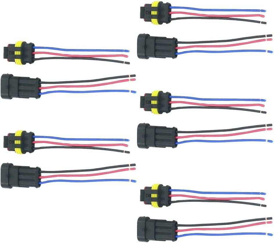 Supmico 5 X 3 Polig Kabel Steckverbinder Stecker Wasserdicht Schnellverbinder Draht Kfz Auto