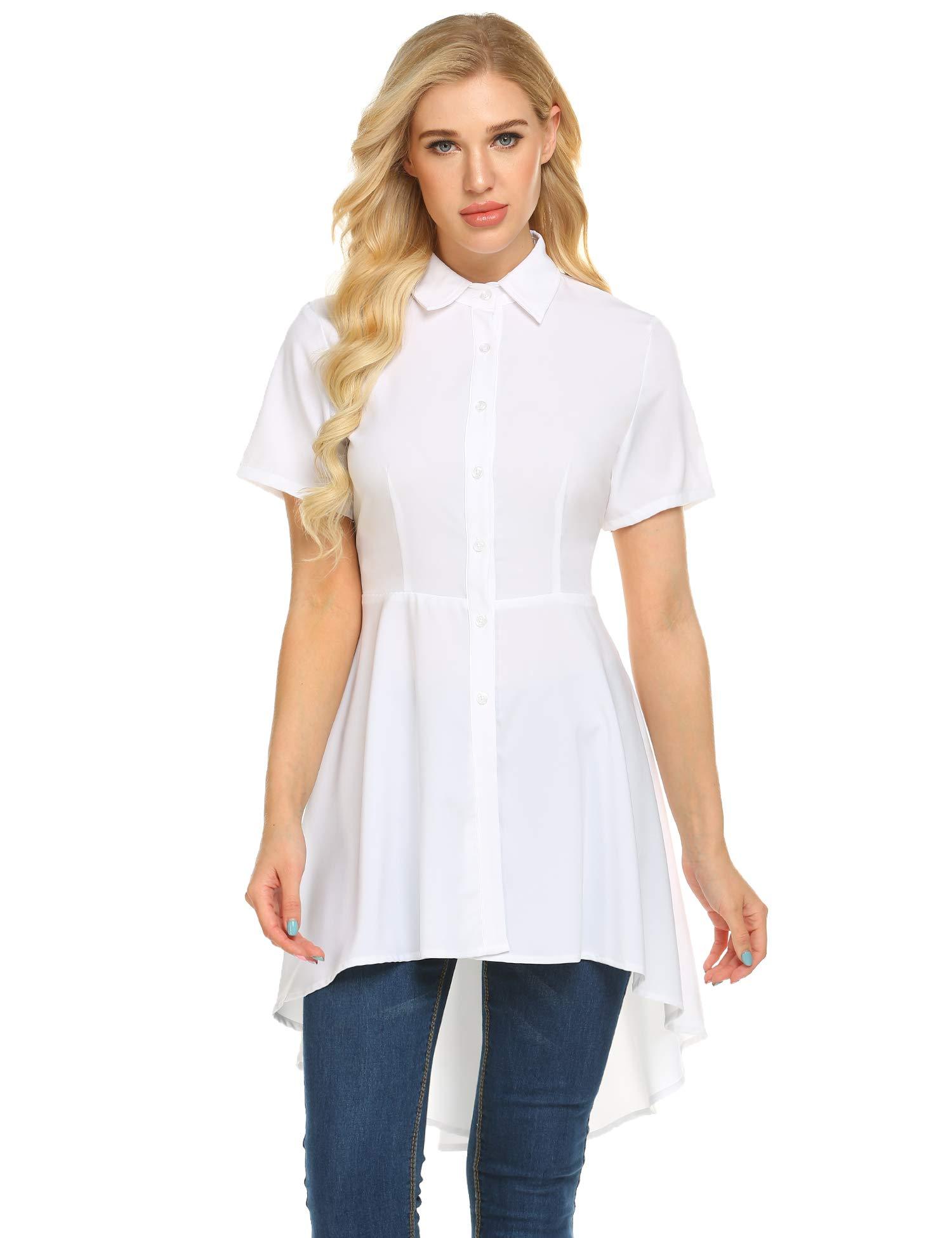 Zeagoo Womens Blouses and Tops Ruffle Short Sleeve Asymmetric High Low Club Shirt Dress