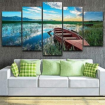 mmwin Decoración Sala de Estar Imágenes modulares HD Impreso 5 Paneles Pastoral Lake Boat Scenery Work Wall Art Canvas Poster Home: Amazon.es: Hogar