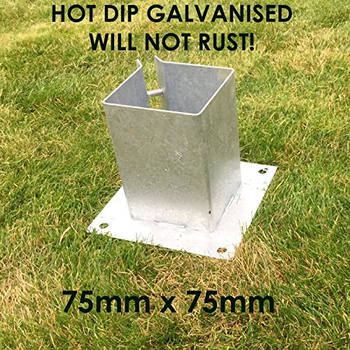 GALVANISED BOLT DOWN FENCE POST SUPPORT ANCHOR POST HOLDER LIKE METPOST (1) Fencepostspikesuk