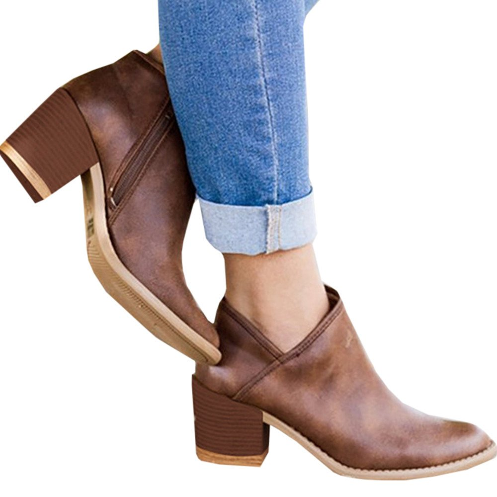 Huiyuzhi Womens Side Zipper Chunky Block Stacked Heel Ankle Booties Faux Leather Pointed Toe Boots B07F8N6VRW 6 B(M) US|Brown