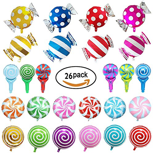 26 Pieces Sweet Candy Balloons Set Including 12 Pieces 18