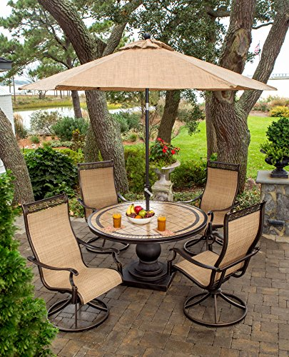 Hanover MONACO5PCSW-SU-P Furniture 5 Piece Monaco High Back Sling Swivel Chairs Set with Umbrella Outdoor Dining, Tan/Bronze