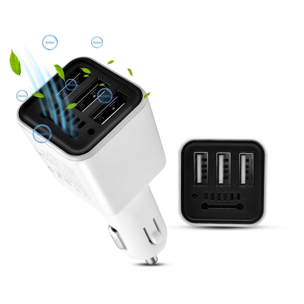 Cargador de coche con ambientador iónico incluye puertos USB incluye purificador de