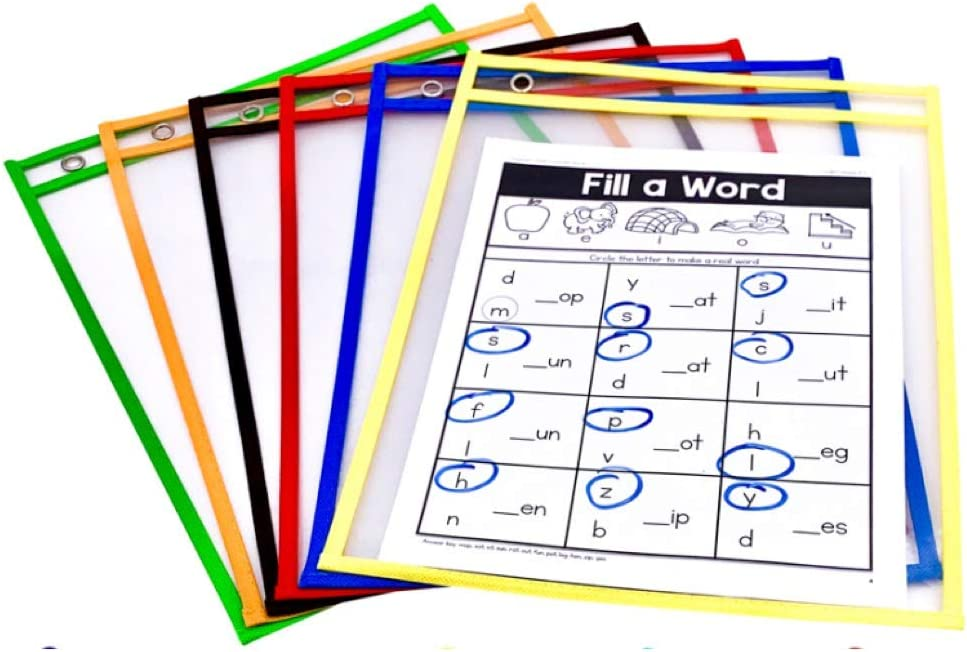 PDX Reading Specialist Dry Erase Pocket Sleeves - 6 Assorted Colors - Oversized Plastic Sheet Protectors - Great for Teachers, School, Home & Office, Shop Tickets and More : Office Products