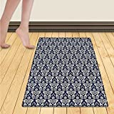 WolfgangDecor Damask Door Mats for home Antique Floral Ornament with Baroque Style Curls Curves Foliage Nature Theme Bath Mat Bathroom Mat with Non Slip 30''x48'' Navy Blue White
