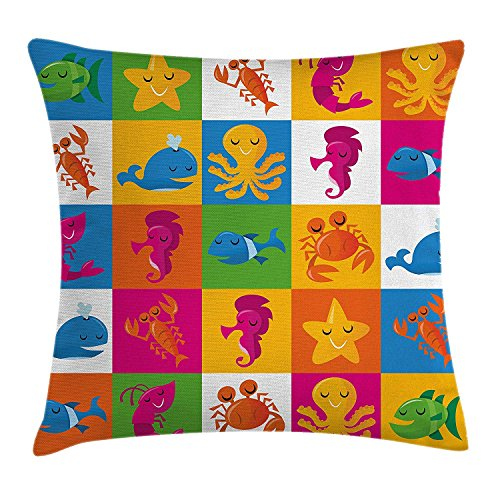 Riolaops Marine Throw Pillow Cushion Cover, Cute Underwater Animals Sea Octopus Crab Whale Starfish Dolphin Prawn Illustration, Decorative Square Accent Pillow Case, 18 X 18 Inches, (Best Headphones Under 25s)