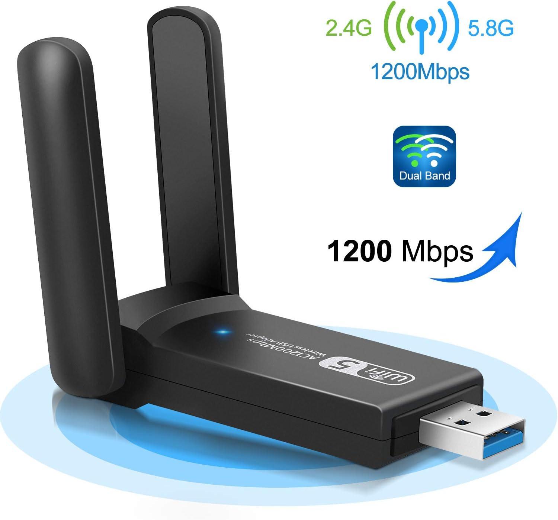 Philonext Adaptador USB WiFi, 1200 Mbit/s, WLAN Stick Dual Band Wireless Dongle, 2,4/5,8 GHz Mini USB Adaptador para Ordenador portátil, Compatible con Windows XP/Vista/Linux/Win 7/8/8.1/10/Mac OS