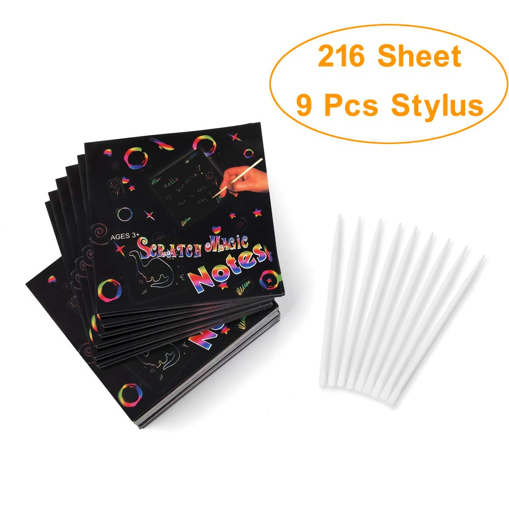 216 Sheets with 9 Plastic Scratch Stylus DIY Art Supplies Scratch-Off Art Paper Magic Colorful Drawing Board Painting Doodle Creative Gifts for Kids WIWAPLEX Scratch Art Notes Rainbow Mini Notes