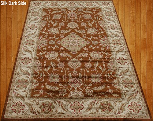 Home Must Haves Brown Beige Green Red Orange Traditional Persian Floral Faux Silk Rug Carpet (4X6)