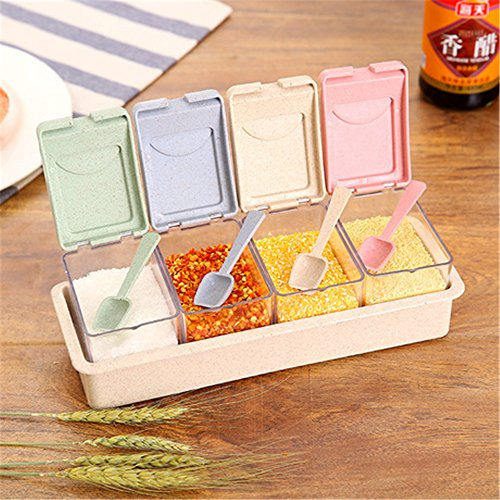 [4 PCS] Seasoning Box, Spice Pots Seasoning Rack, Spice Salt Organizer Storage Jars Condiment Container with Cover and (Spice Storage Box)