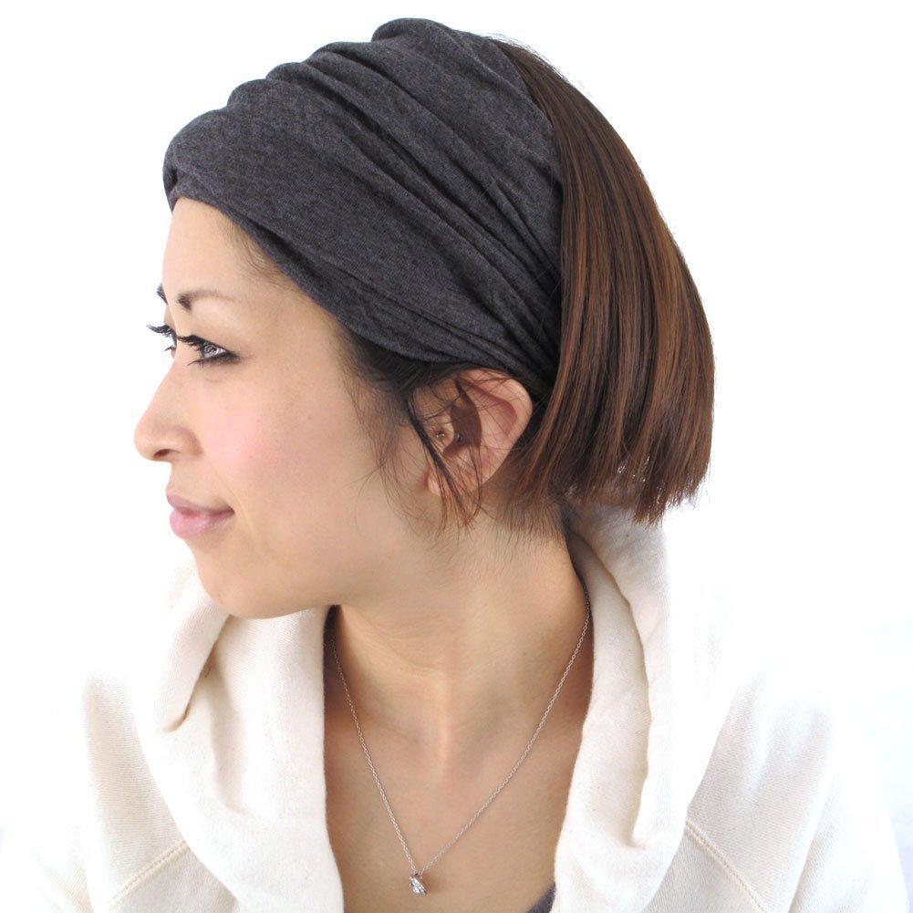 CHARM Casualbox | Womens Headband Neck Warmer Beanie Fashion Made in Japan Dark Gray