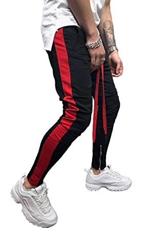 7c154d85 Hakjay Mens Casual Joggers Slim Fit Sweatpants Long Drawstring Striped  Track Pants