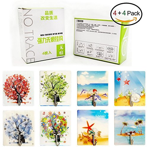 Adhesive Hooks Romantic Artistic Fashionable Traceless Strong Eco-friendly Washable Removable Reusable Waterproof Heavy-duty Flexible Durable, Max Load 22lb/10kg, 4+4 Packs (L'Arbre/L'océan)