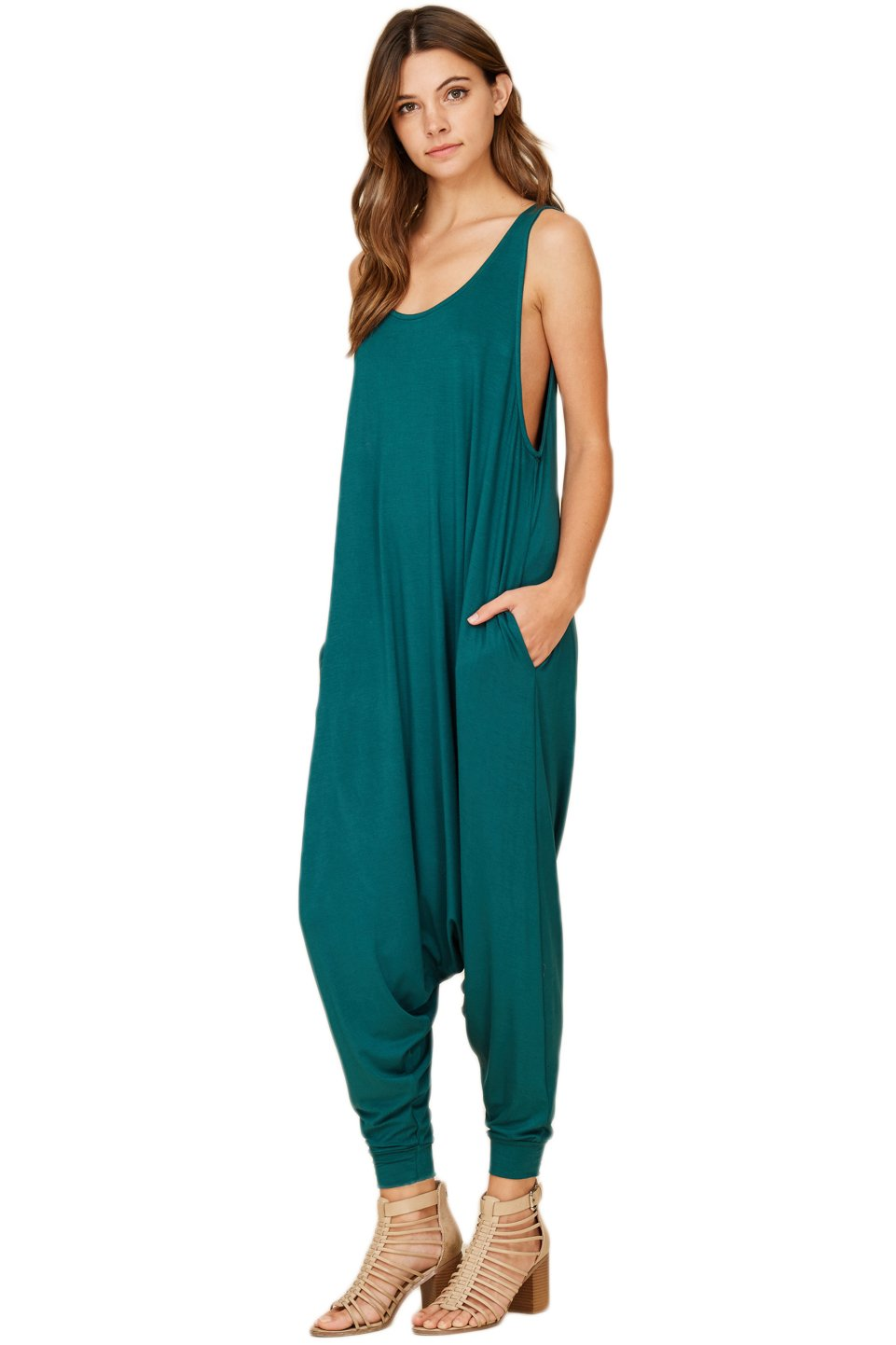 Annabelle Women's Comfy Rayon Solid Color Sleeveless Harem Jumpsuits J8004