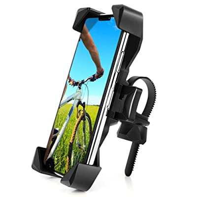 AONKEY One-Touch Release Bike Phone Mount, 360° Rotatable Bicycle & Motorcycle Handlebar Cell Phone Holder Universal for All Smartphones Include iPhone 11 Pro Xs Max XR X 7 8 Plus, Galaxy S10 Note 10: GPS & Navigation