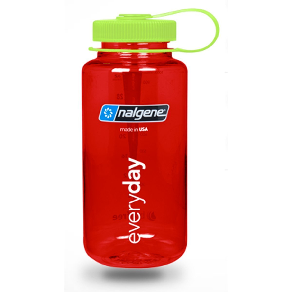Nalgene Wide Mouth Water Bottle in Christmas Colors - 32 oz., Red w/ Green Cap
