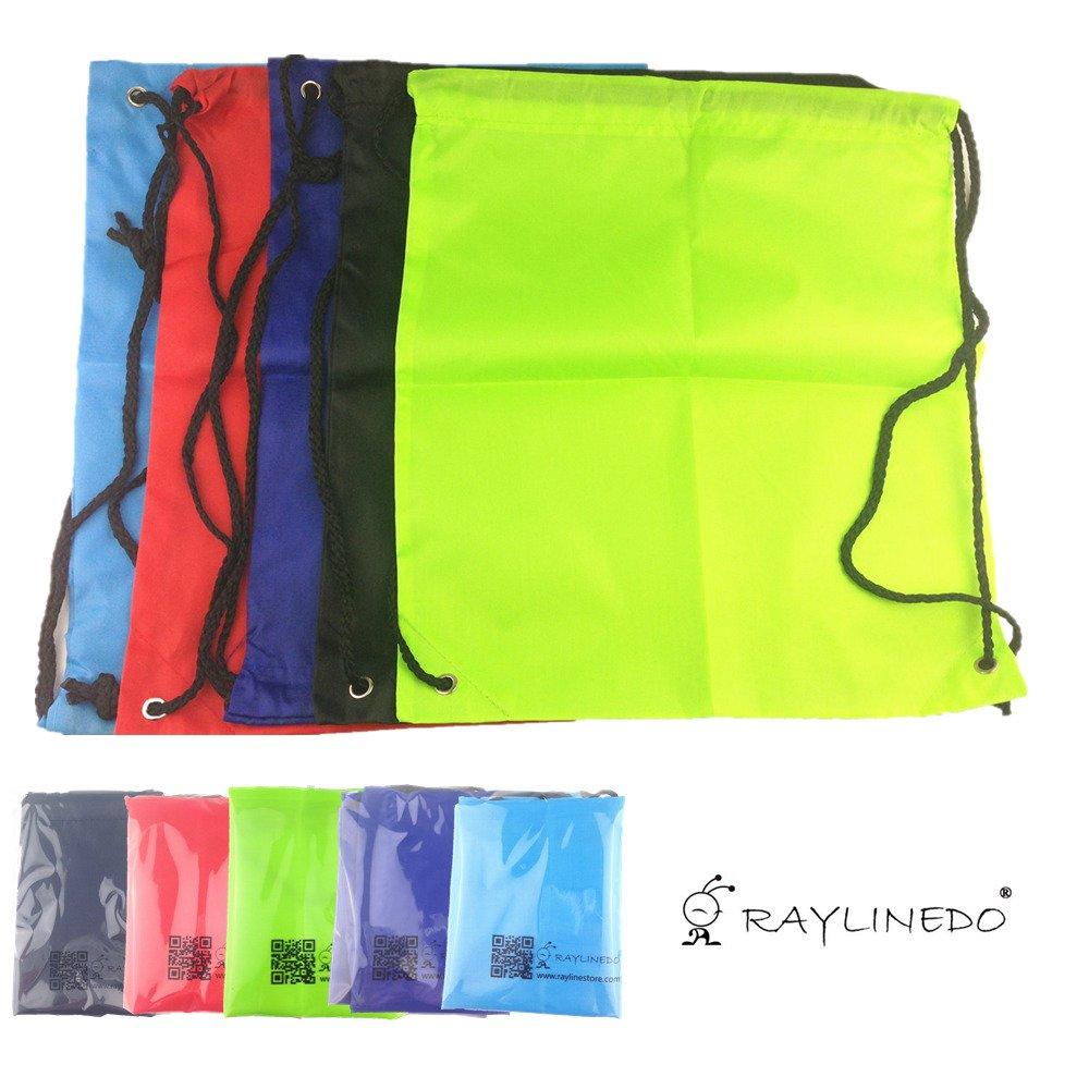 raylinedo5pcsアウトドアスポーツGymsac巾着ジムショルダーバッグリュックサックバックパックスクールバッグの水泳旅行、スポーツランダムカラー B01B62PBVS