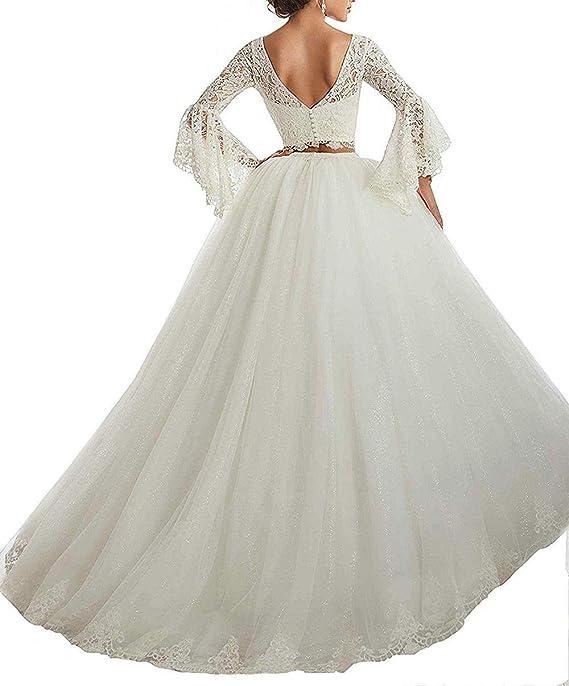 f9028ea91 JAEDEN Vestidos de Novia Vestido de Boda de Dos Piezas Largo Encaje Tul  Manga Larga