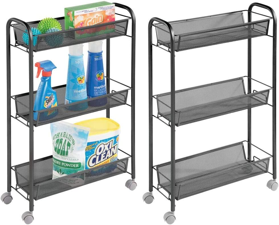 mDesign Portable Rolling Laundry Utility Cart Organizer Trolley with Easy-Glide Wheels and 3 Multipurpose Heavy-Duty Metal Mesh Basket Shelves - Durable Steel Frame - 2 Pack - Black