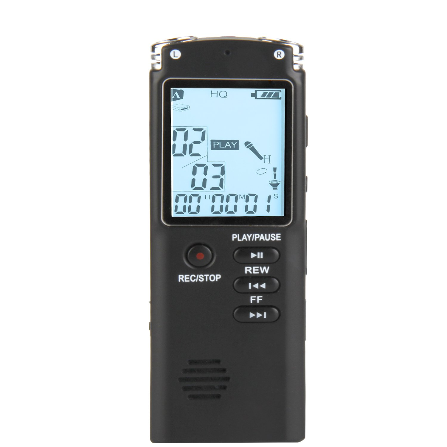 Phetron Digital Voice Recorder, 8GB Digital Sound Audio Recorder Dictaphone, Voice Activated Recorder with USB Cable, Recording Noise Reduction Microphone with MP3 Player and Time Mark