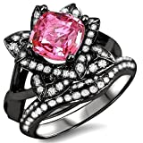Smjewels 2.20Ct Cushion Cut Sapphire Lotus Flower CZ Diamond Ring Bridal Set 14K Black Gold Fn