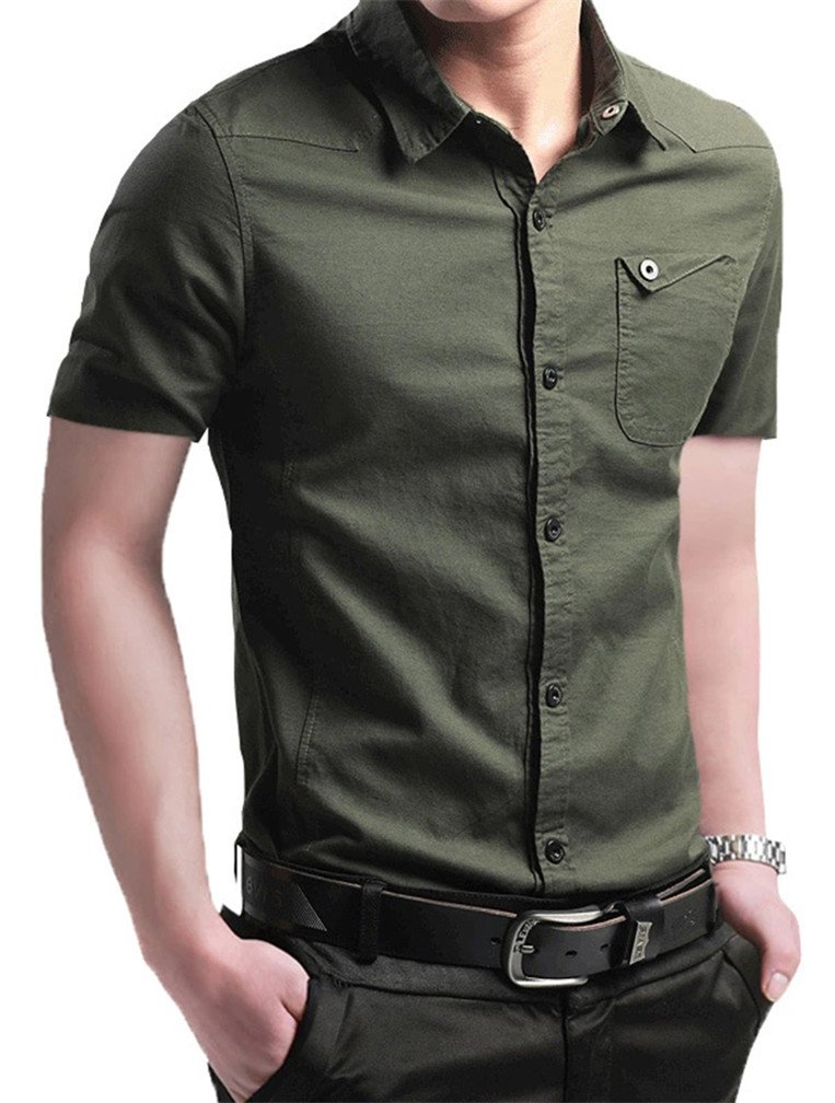 JZOEOEU Men's Short Sleeve Casual Slim Fit Button Down Dress Cotton Printed Shirt Army Green Asian Tag 4XL(US L)