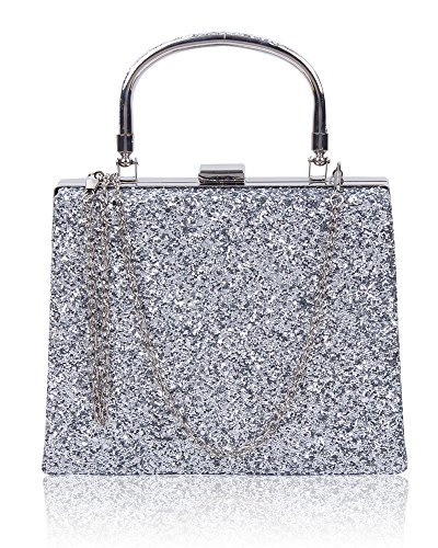 Evening 23 Sparkling Diamante Women's Foxlady Party silver Bag Clutch Silver Wedding Crystals Bag Shiny Prom t6awgq