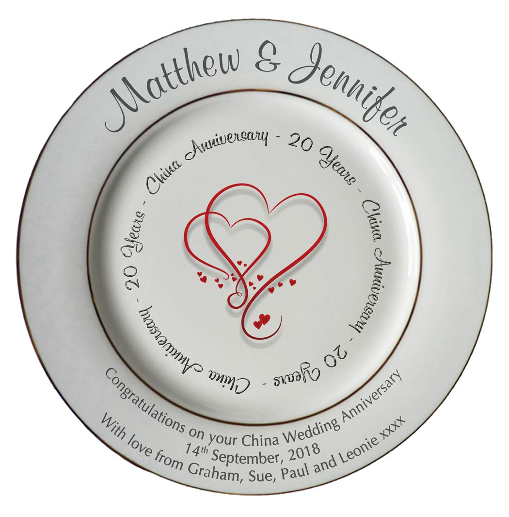 All About Names Personalised Bone China Plate - 20th Anniversary (China) - Hearts Design AllAboutNames