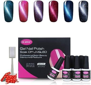 Clavuz Esmalte de Uñas Semipermanente Gel Uñas UV LED Ojo de Gato 6pcs Kit con Imán Magnético Manicura y Pedicura Soak-off: Amazon.es: Belleza