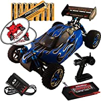 RedCat Racing Tornado EPX Pro RC Buggy Custom Silver Blue Flame Body 1:10 Scale Buggy Bundle (3 Items) Brushless 4x4 Complete RC Kit w Controller LIPO Battery & Charger +8 AA Batteries +RedCat Decals