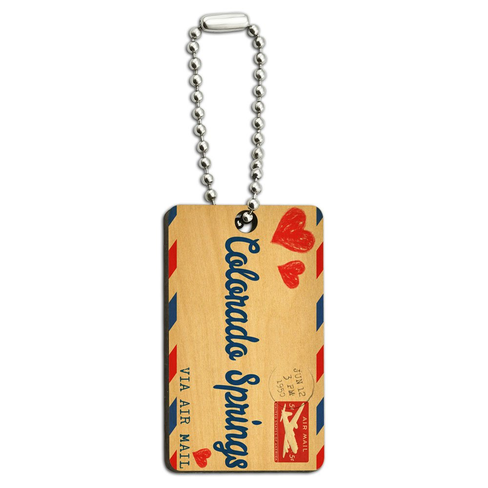 Air Mail Postcard Love for Colorado Springs Wood Wooden Rectangle Key Chain