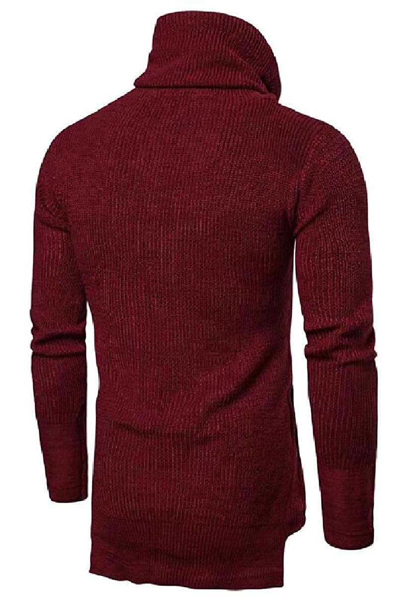 ZXFHZS Mens Turtleneck Sweater Long Sleeve Simple Thick Christmas Pullover Knitwear