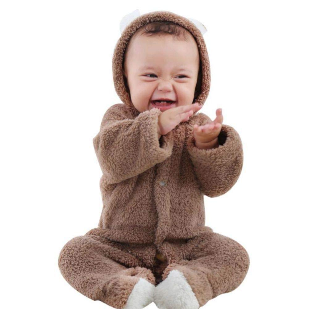Urmagic Baby Romper, Newborn Baby Boys Girls Thick Warm Hooded Romper Jumpsuit Outfit Infant Autumn Winter Clothes Home Costume Suitable for 0-12 Months