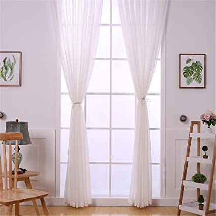 WERM® Tulle Tende Tessuto Bianco in Cotone Tendine Decorative ...