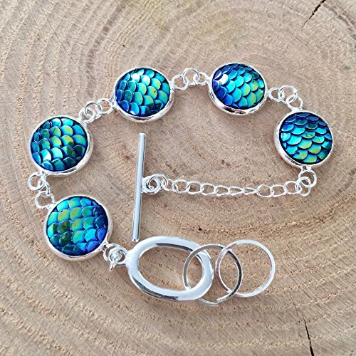 Cupid Goddess Of Love Costumes (Blue Green Mermaid Fish Dragon Scales Silver Tone Bracelet)