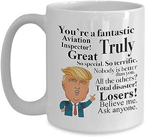 Donald Trump Coffee Mug - 15 Oz Tea Cup Gift Ideas for Aviation Inspector Birthday Christmas President Conservative Republican