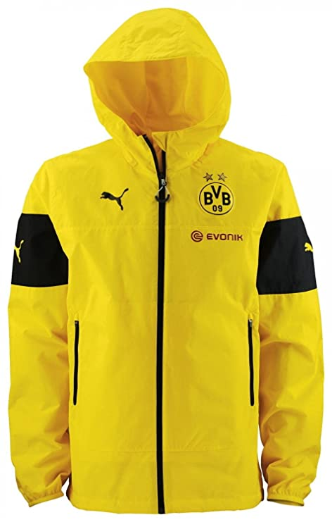 Puma BVB – Chaqueta infantil Rain Top with Pockets, CYBER YELLOW-BLACK-E