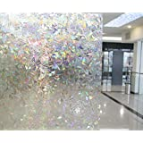 NEO Home Non-Adhesive 3D Static Window Film Stained Reflective Privacy Window Film Come With Gorgeous Colorful Effect,1.5Ft x 9.8Ft.