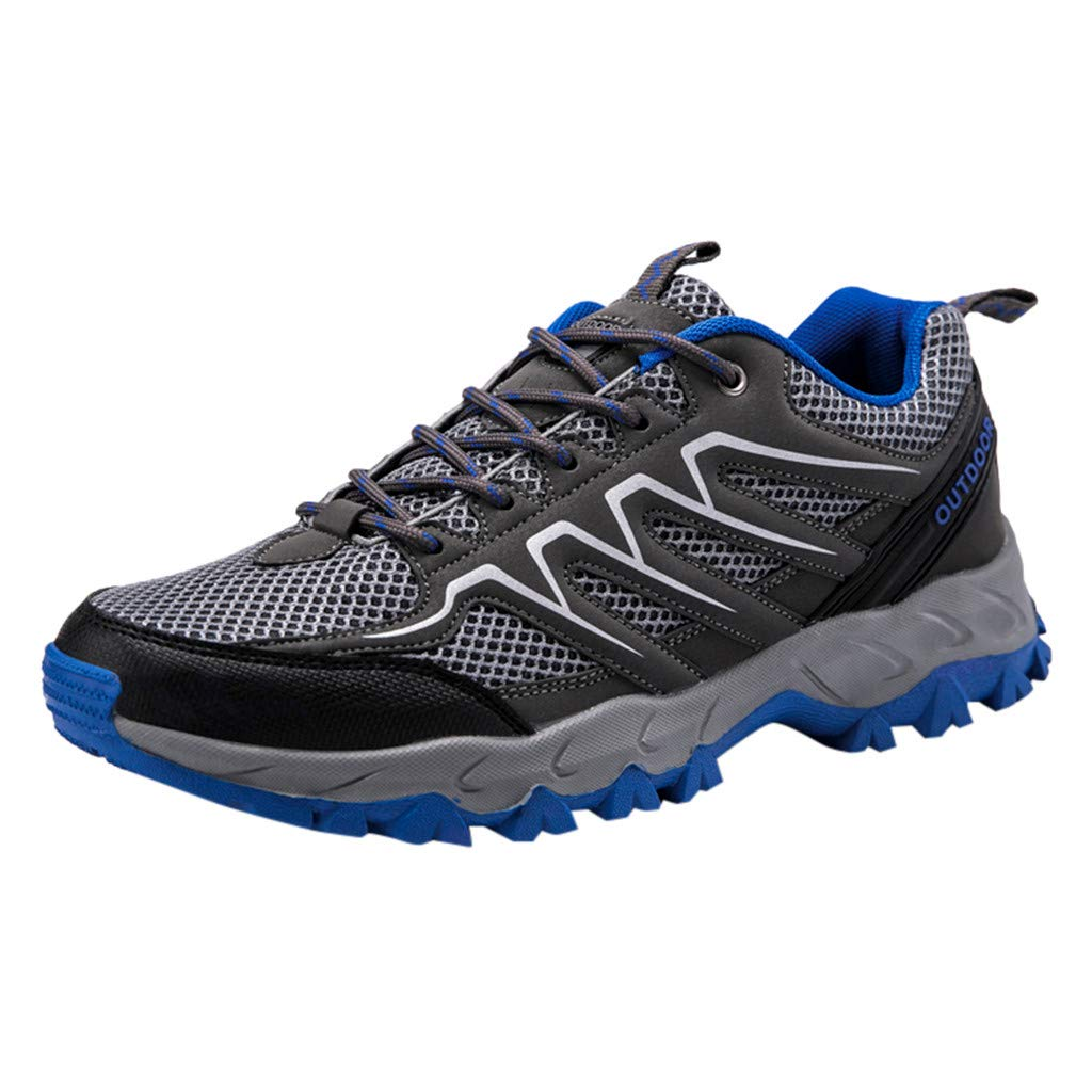 Sunyastor Men Hiking Shoes Lightweight Non-Slip Mesh Trail Running Sneakers Breathable Outdoor Trekking Walking Shoes Blue