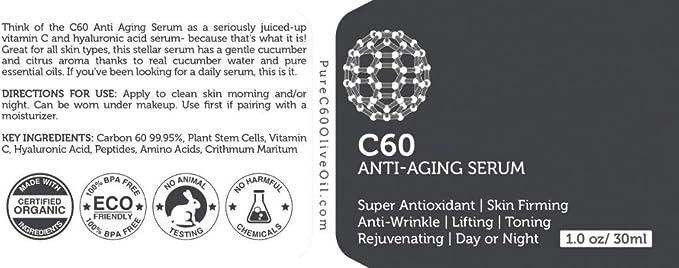 Carbon 60 Serum antienvejecimiento 30ml con ácido hialurónico, células madre vegetales, péptidos, vitaminas B + C y complejos antiarrugas antiarrugas ...