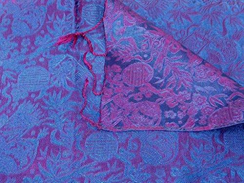 Foulard de Soie Réversible Vietnamienne Hoi-An Silk Weave Ben-Tre Blue & Pink par Pashmina & Silk