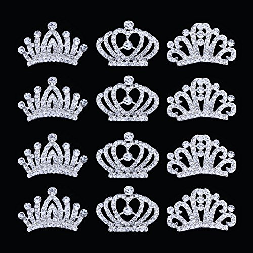 12Pcs Metal Rhinestone Mini tiaras and crowns for little girls Comb Tiara Hair Clips For Princess Party Supplies,Princess Flower Girl Wedding Party Favor Hair Jewelry by Kingyao