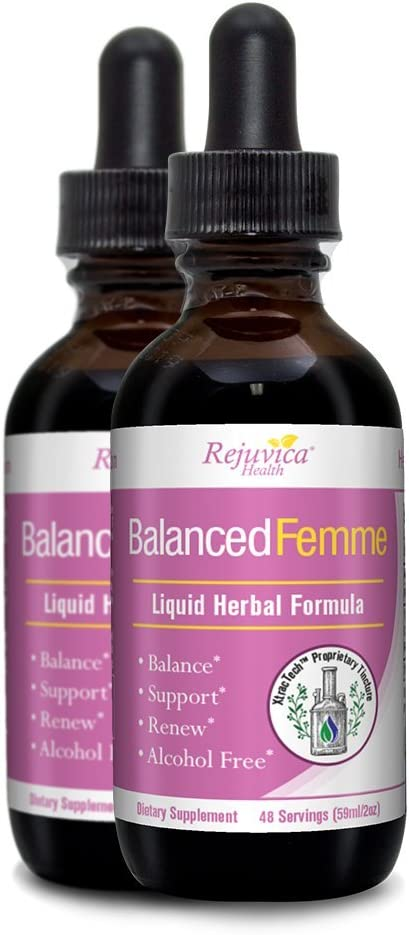 Balanced Femme – Herbal PMS and Menopause Support All-Natural Liquid for 2X Absorption Vitex, Dong Quai, Maca Root More