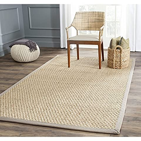 Safavieh Natural Fiber Collection NF114P Basketweave Natural and Grey Seagrass Area Rug (2' x 3') (Cotton Area Rugs 2x3)