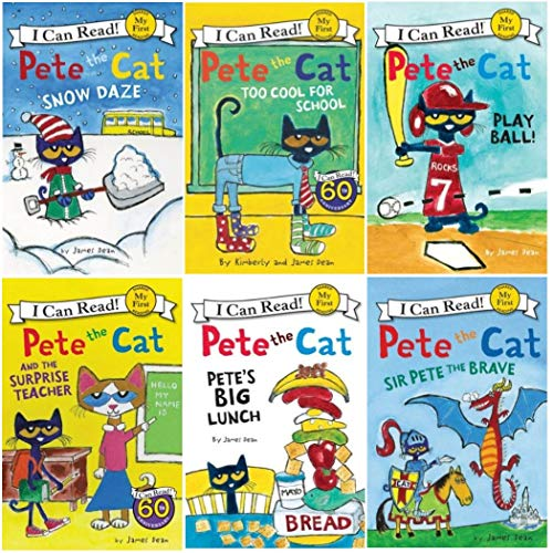 I Can Read Pete the Cat Beginning Reading Six Book Set : Pete the Cat Play Ball, Big Lunch, Sir Pete the Brave, The Surprise Teacher, Snow Daze, Too Cool for School ()