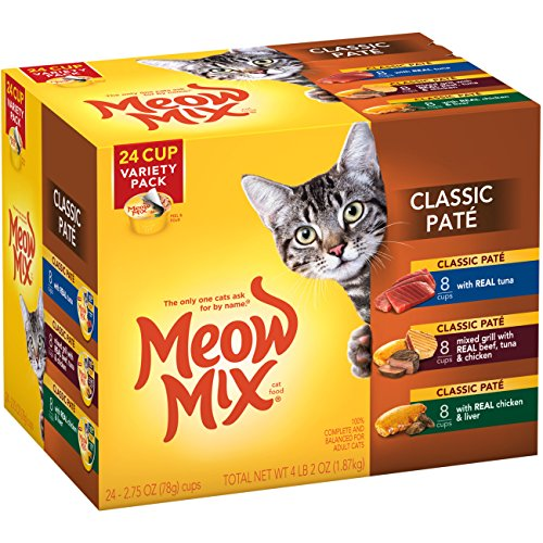 - Meow Mix Classic Pate Wet Cat Food Variety Pack, 2.75-Ounce Cups (Pack of 24)