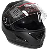 Motorcycle Full Face Helmet DOT Street Legal DOUBLE VISOR Comes with Clear Flip Up Shield and Retractable Inner Smoked Shield – Matte Black (Medium)