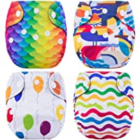 Thank u Mom Newborn Cloth Diaper All in One Tiny Reusable Nappies with Sewn-in Insert 4 Pack (Colorful World)